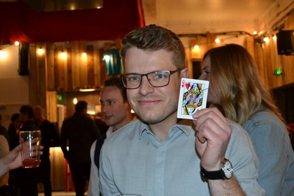Man showing playing card Matt and Terri's Wedding